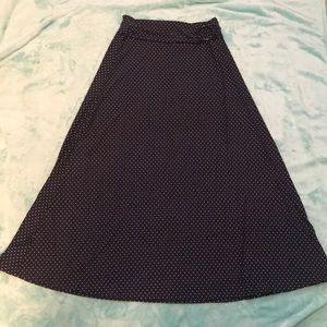 Navy and White Polka-dotted Maxi Skirt